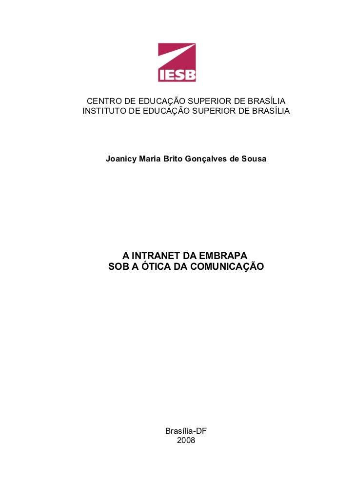CENTRO DE EDUCAÇÃO SUPERIOR DE BRASÍLIAINSTITUTO DE EDUCAÇÃO SUPERIOR DE BRASÍLIA    Joanicy Maria Brito Gonçalves de Sous...