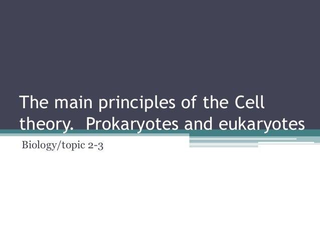 The main principles of the Cell theory. Prokaryotes and eukaryotes Biology/topic 2-3