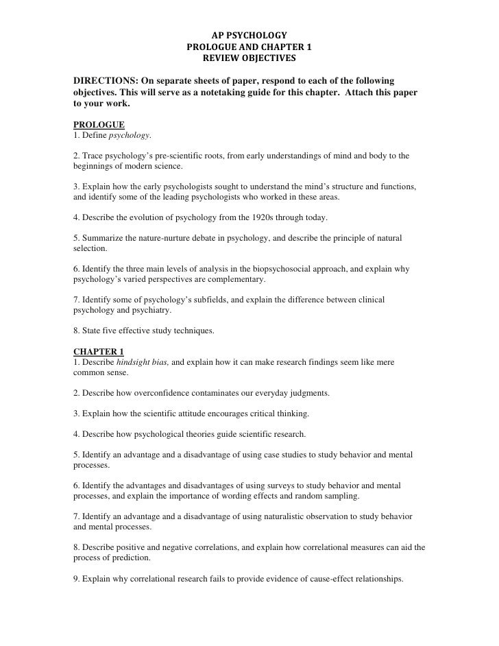 DIRECTIONS: On separate sheets of paper, respond to each of the following objectives. This will serve as a notetaking guid...