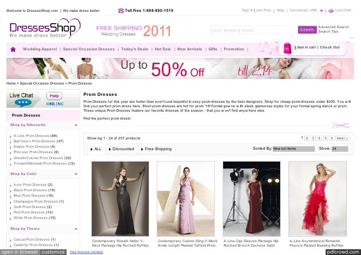 Welcome to DressesShop.com  | We make dress better                 Toll Free 1-888-880-1519                               ...