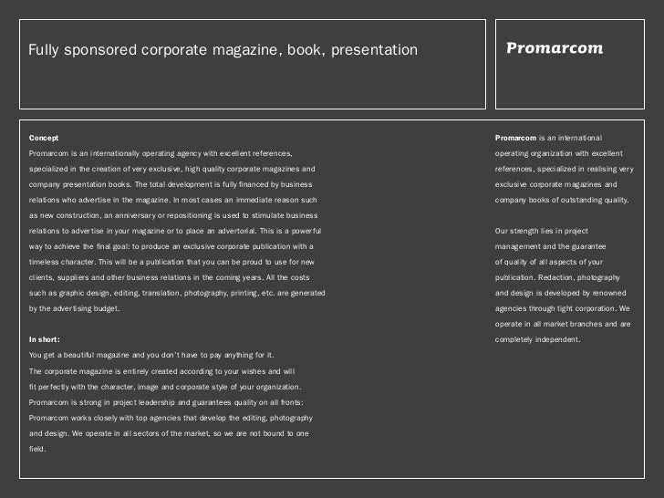 Fully sponsored corporate magazine, book, presentationConcept                                                             ...