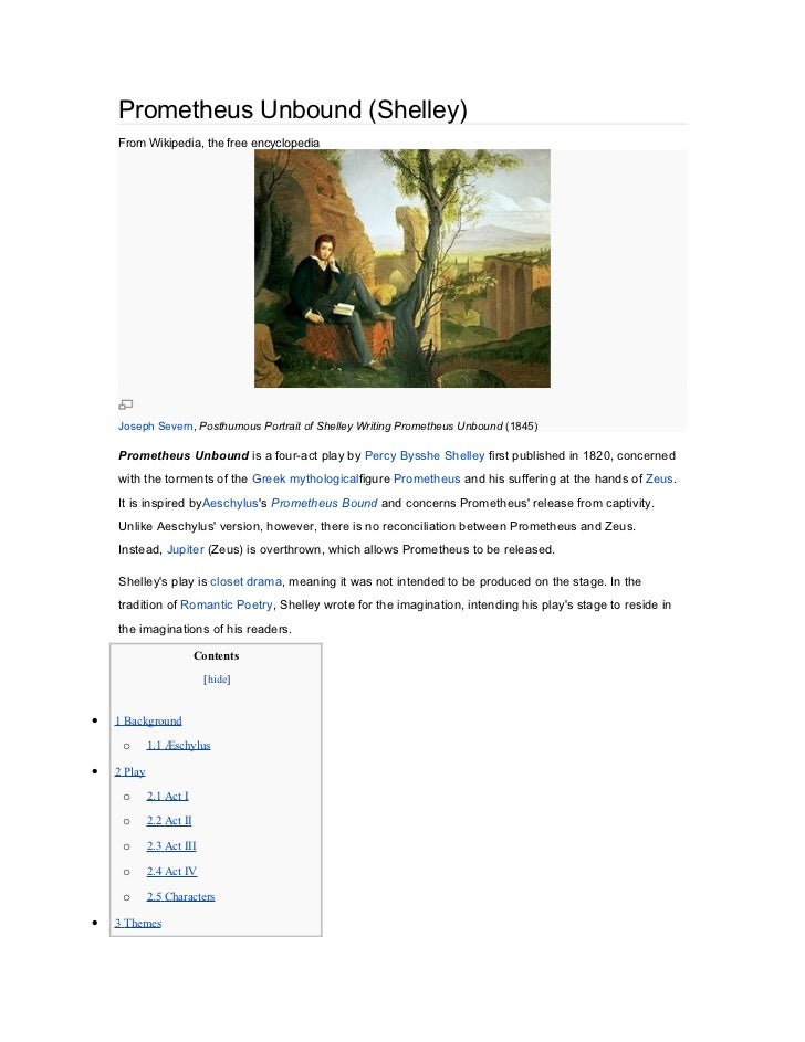 Prometheus Unbound (Shelley)    From Wikipedia, the free encyclopedia    Joseph Severn, Posthumous Portrait of Shelley Wri...