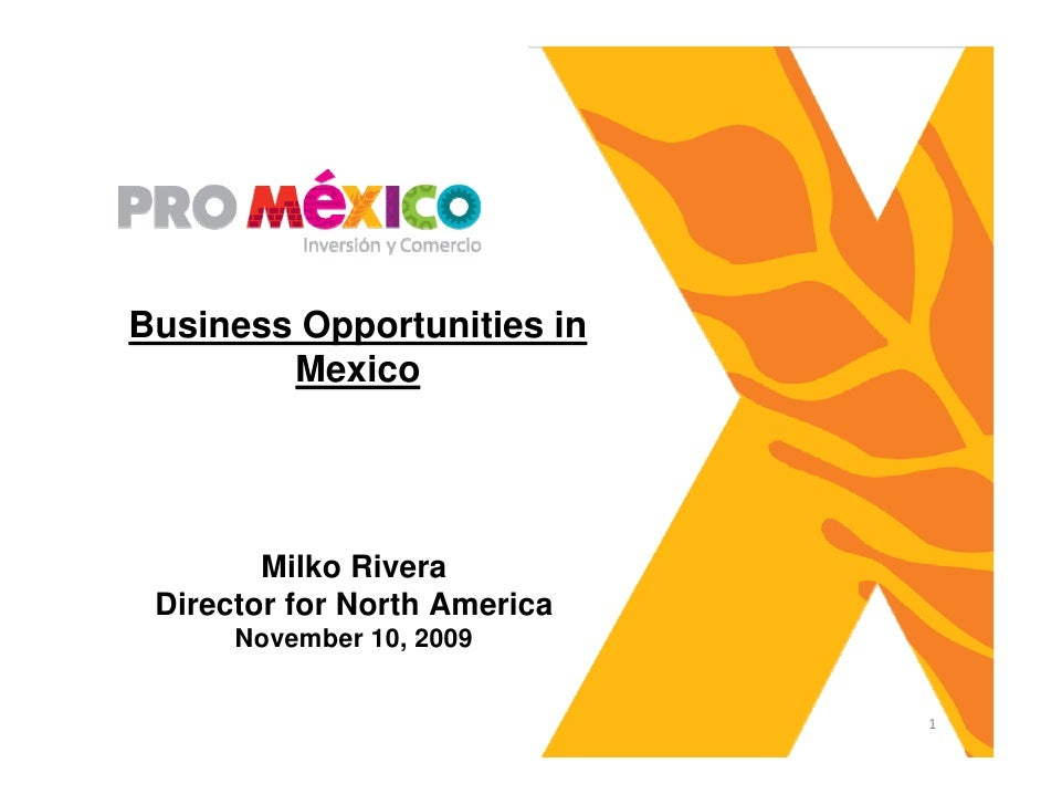 Business Opportunities in         Mexico             Milko Rivera  Director for North America       November 10, 2009     ...
