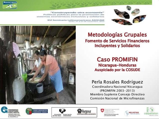 Metodologías Grupales Fomento de Servicios Financieros Incluyentes y Solidarios  Caso PROMIFIN Nicaragua-Honduras  Auspici...
