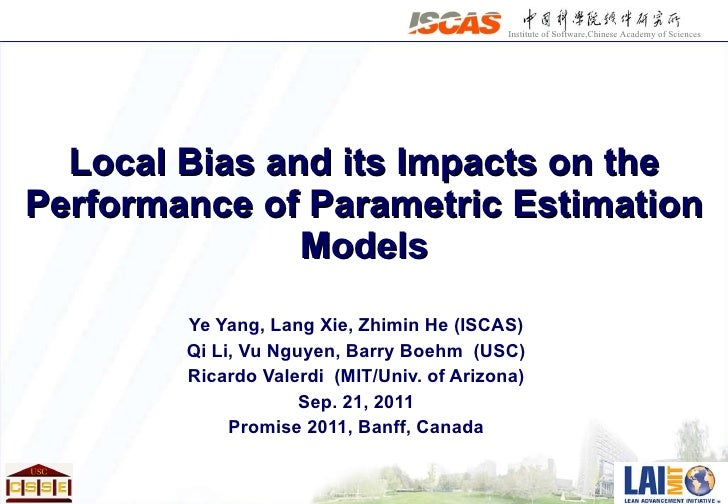 """Promise 2011: """"Local Bias and its Impacts on the Performance of Parametric Estimation Models"""""""