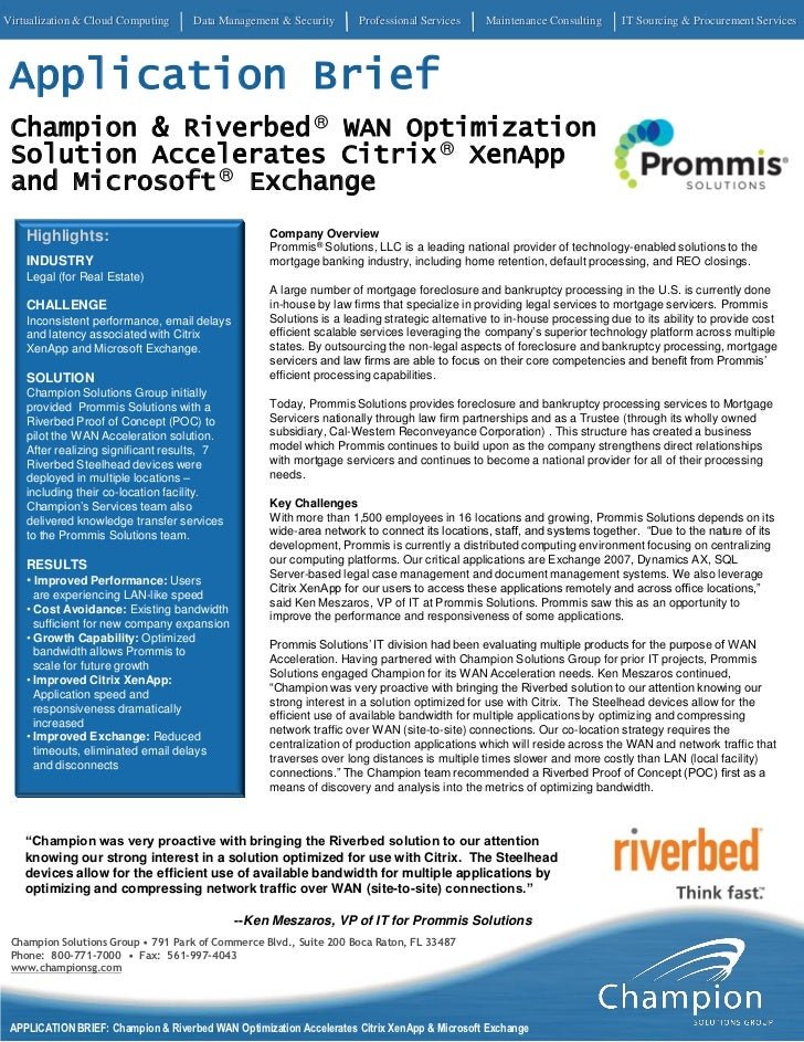 Riverbed®WAN Optimization Solution Accelerates Citrix®XenApp and Microsoft®Exchange