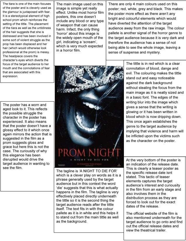 Prom night poster analysis