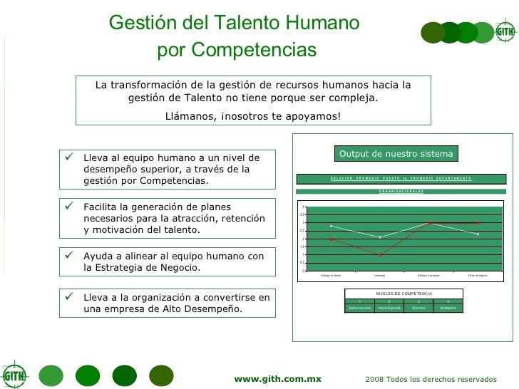 Gestión del Talento Humano  por Competencias <ul><li>Lleva al equipo humano a un nivel de desempeño superior, a través de ...