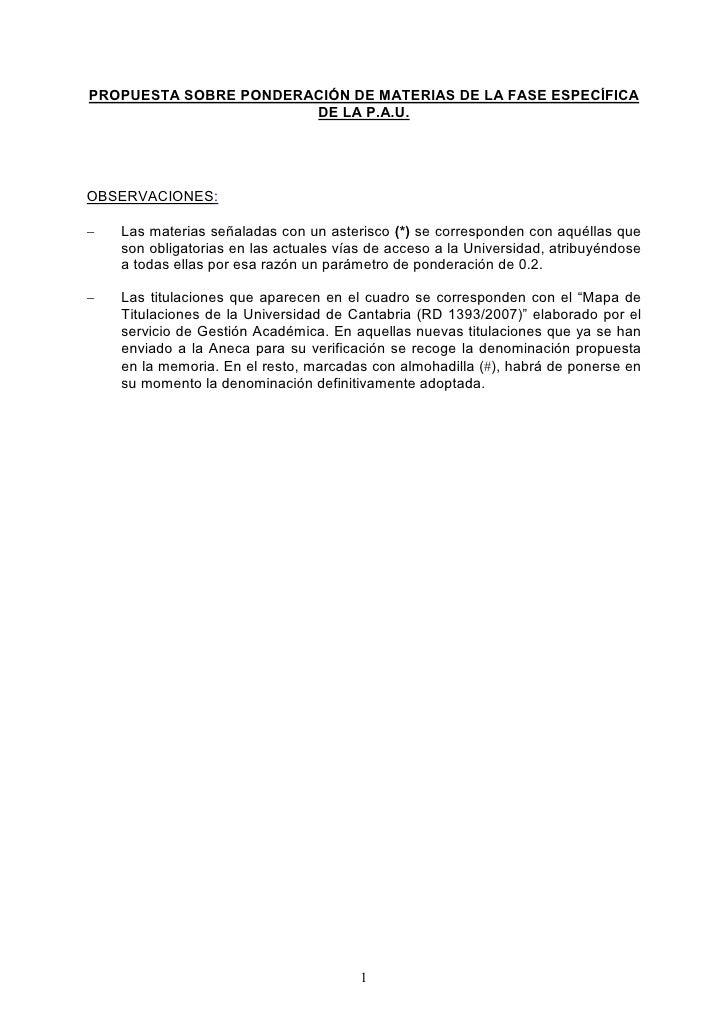 PROPUESTA SOBRE PONDERACIÓN DE MATERIAS DE LA FASE ESPECÍFICA                        DE LA P.A.U.     OBSERVACIONES:  −   ...