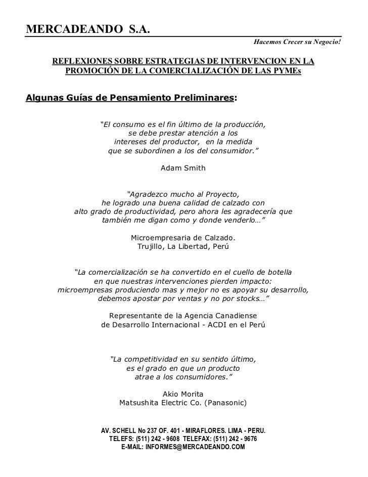 MERCADEANDO S.A.                                                                 Hacemos Crecer su Negocio!     REFLEXIONE...
