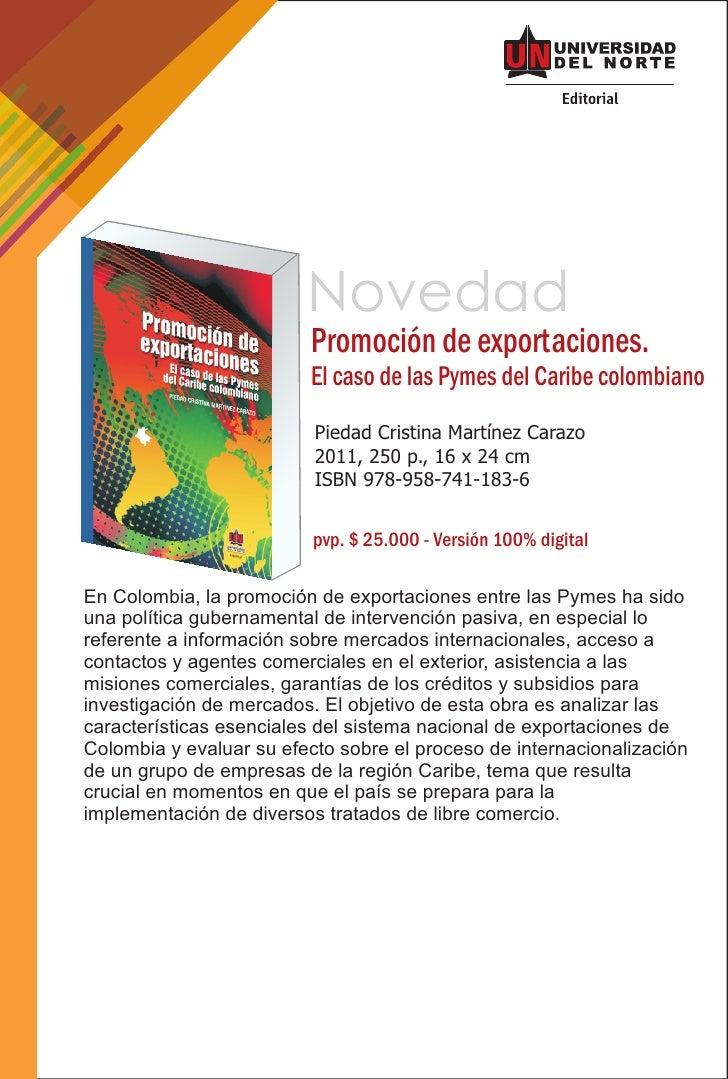 Novedad                         Promoción de exportaciones.                         El caso de las Pymes del Caribe colomb...