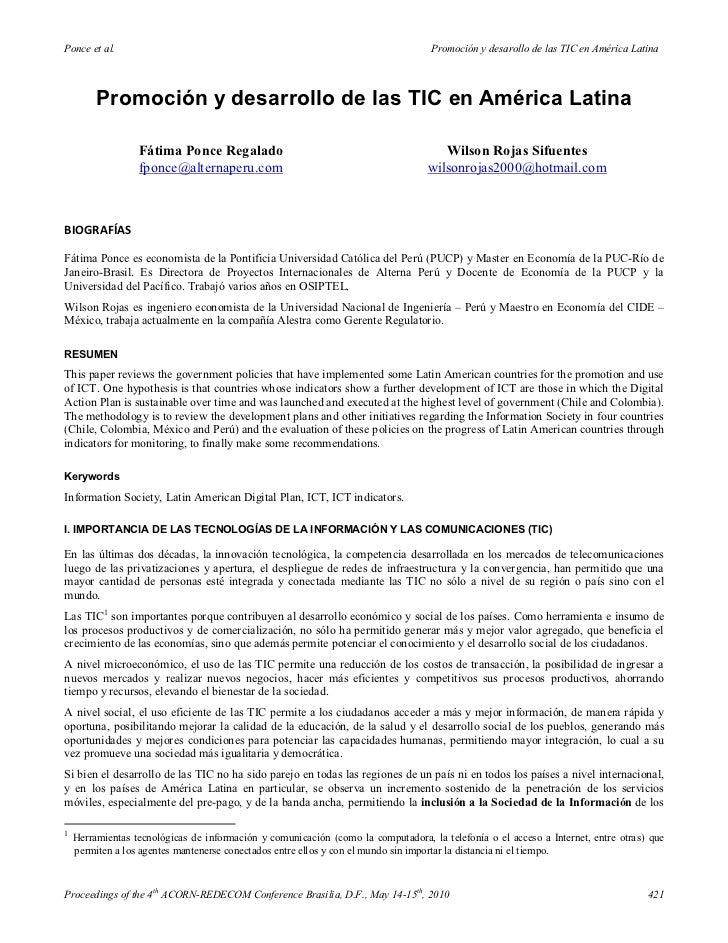 Ponce et al.                                                                       Promoción y desarollo de las TIC en Amé...