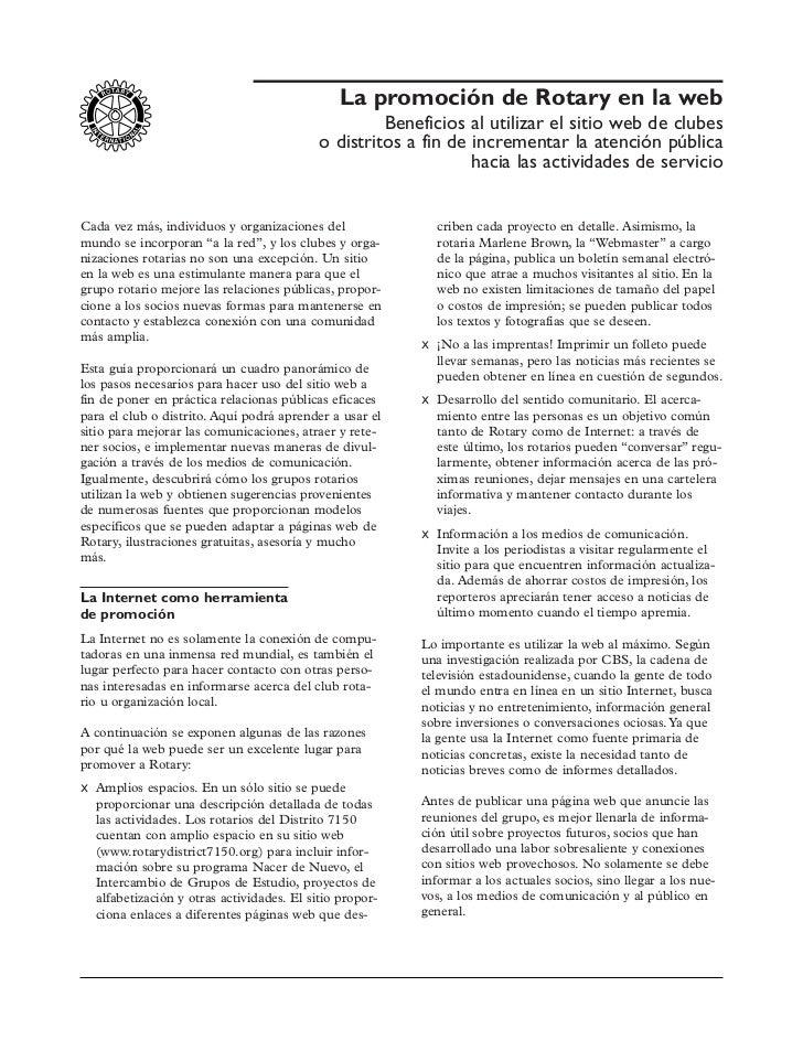 La promoción de Rotary en la web                                                     Beneficios al utilizar el sitio web d...