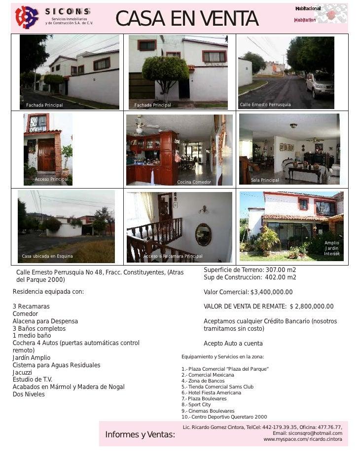 Habitacional              SICONS                  Servicios Inmobiliarios              y de Construcción S.A. de C.V.     ...