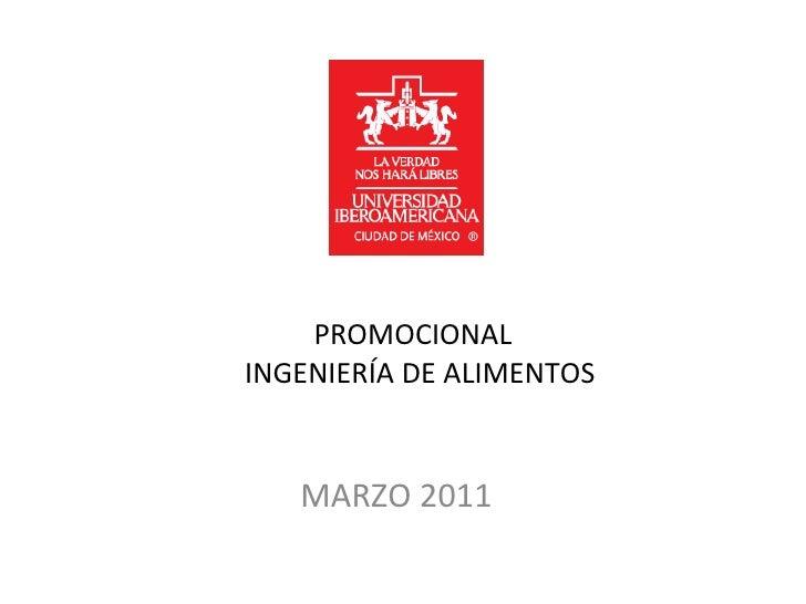 Promocional Ing De Alimentos 2011