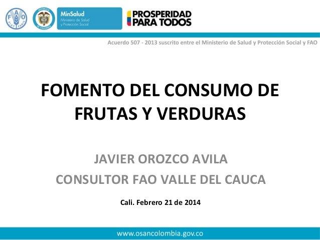 FOMENTO DEL CONSUMO DE FRUTAS Y VERDURAS JAVIER OROZCO AVILA CONSULTOR FAO VALLE DEL CAUCA Cali. Febrero 21 de 2014