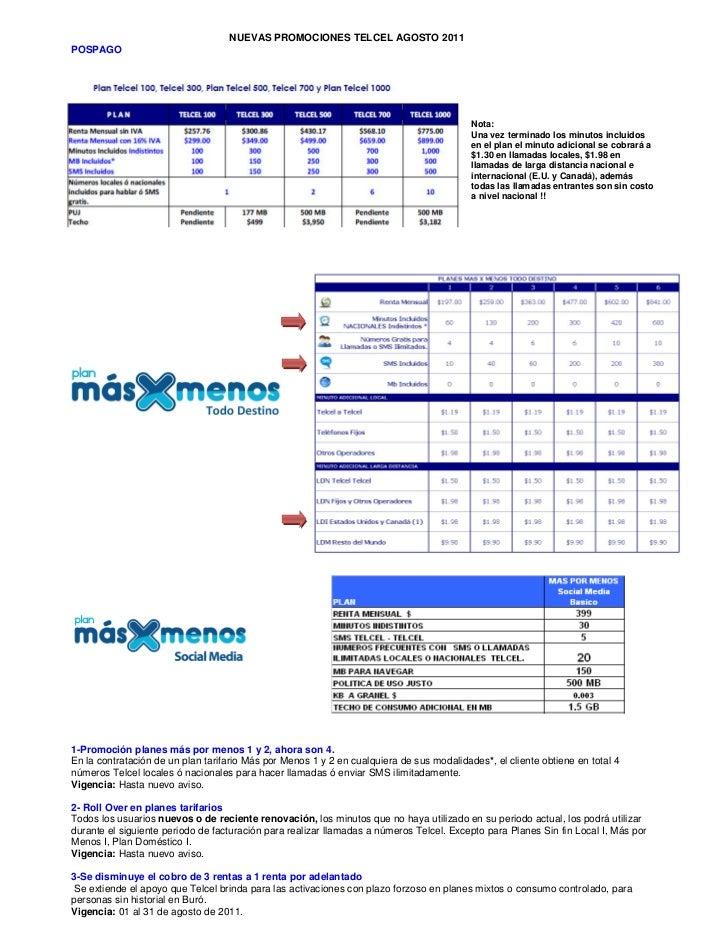 NUEVAS PROMOCIONES TELCEL AGOSTO 2011POSPAGO                                                                              ...