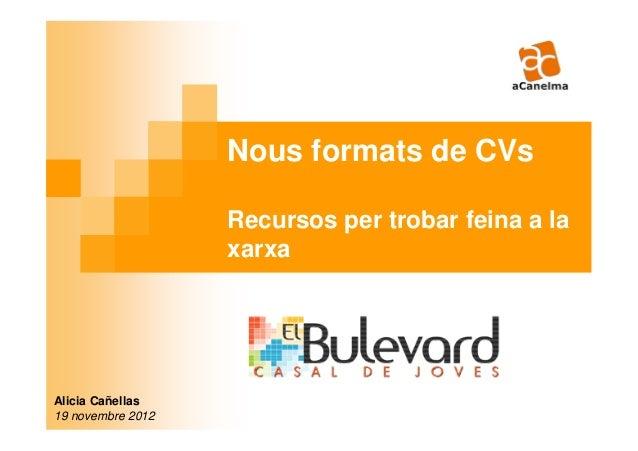 Nous formats de CVs                   Recursos per trobar feina a la                   xarxaAlicia Cañellas19 novembre 2012