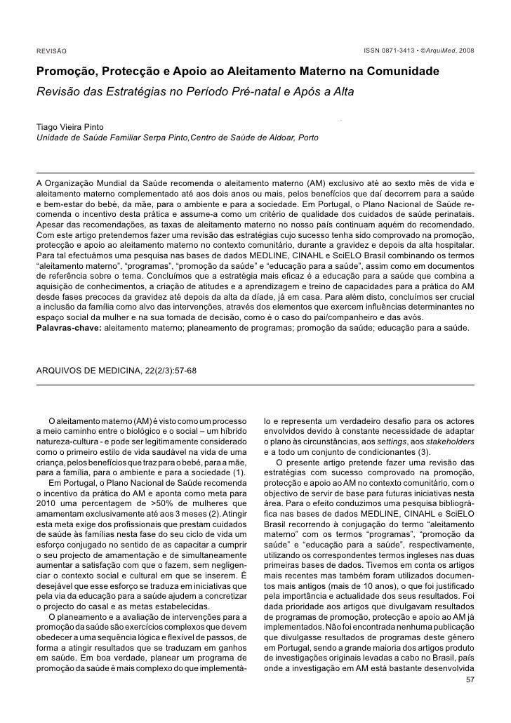 Vieira Pinto T                                        Promoção, Protecção e Apoio ao Aleitamento Materno na Comunidade REV...