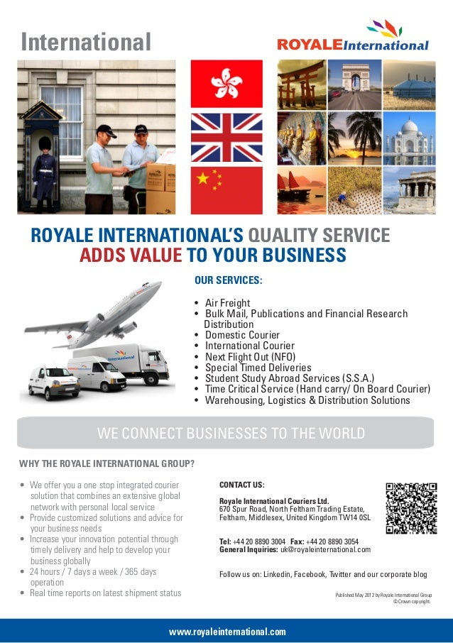 International   ROYALE INTERNATIONAL'S QUALITY SERVICE       ADDS VALUE TO YOUR BUSINESS                                  ...