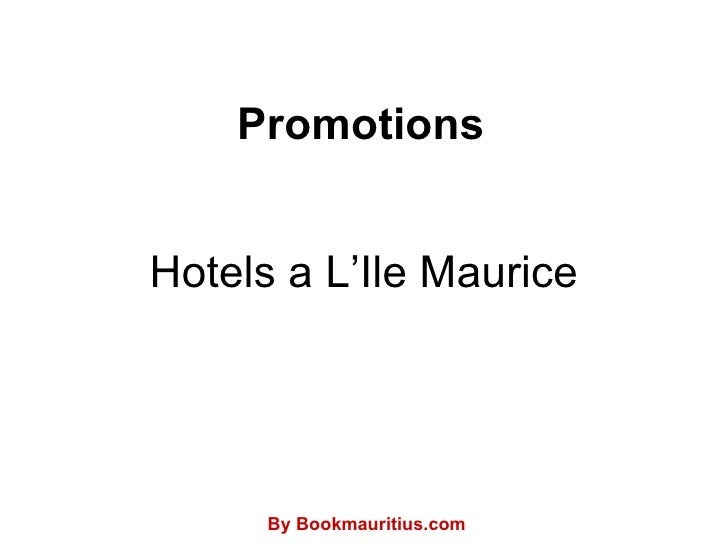 Hotels a L'Ile Maurice Promotions By Bookmauritius.com