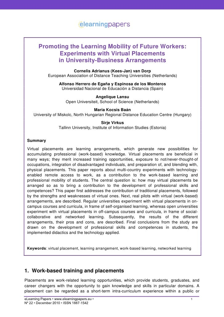 Promoting the Learning Mobility of Future Workers:               Experiments with Virtual Placements              in Unive...