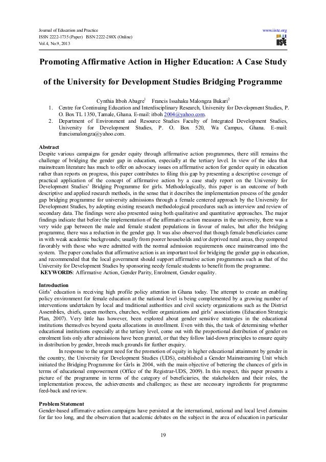 Promoting affirmative action in higher education a case study of the university for development studies bridging programme