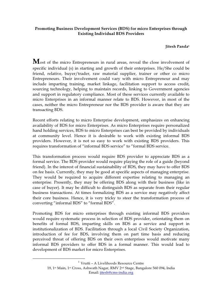 Promoting Business Development Services (BDS) for micro Enterprises through                      Existing Individual BDS P...
