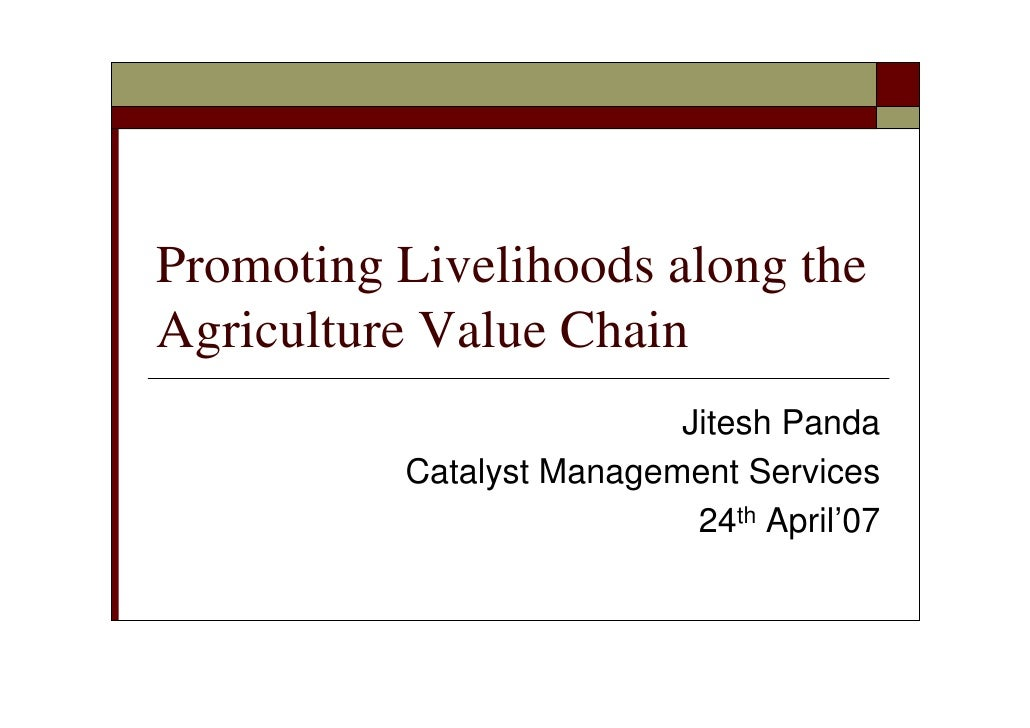 Promoting Livelihoods along the Agriculture Value Chain 230307