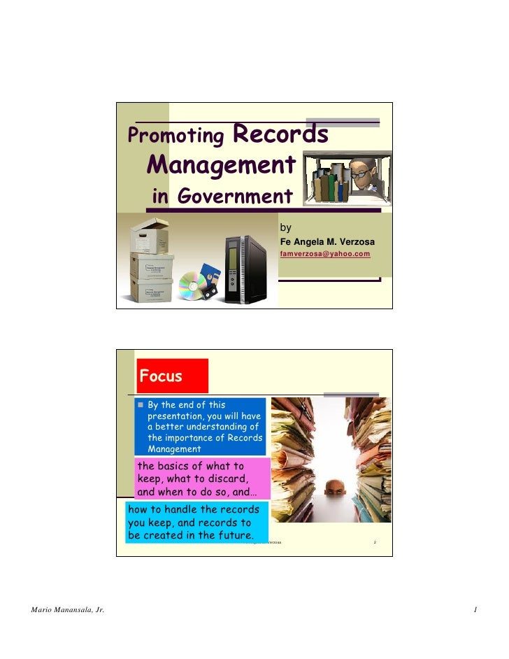 Promoting records management in government