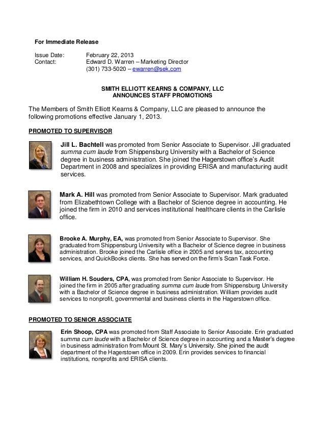 For Immediate Release Issue Date:       February 22, 2013 Contact:          Edward D. Warren – Marketing Director         ...