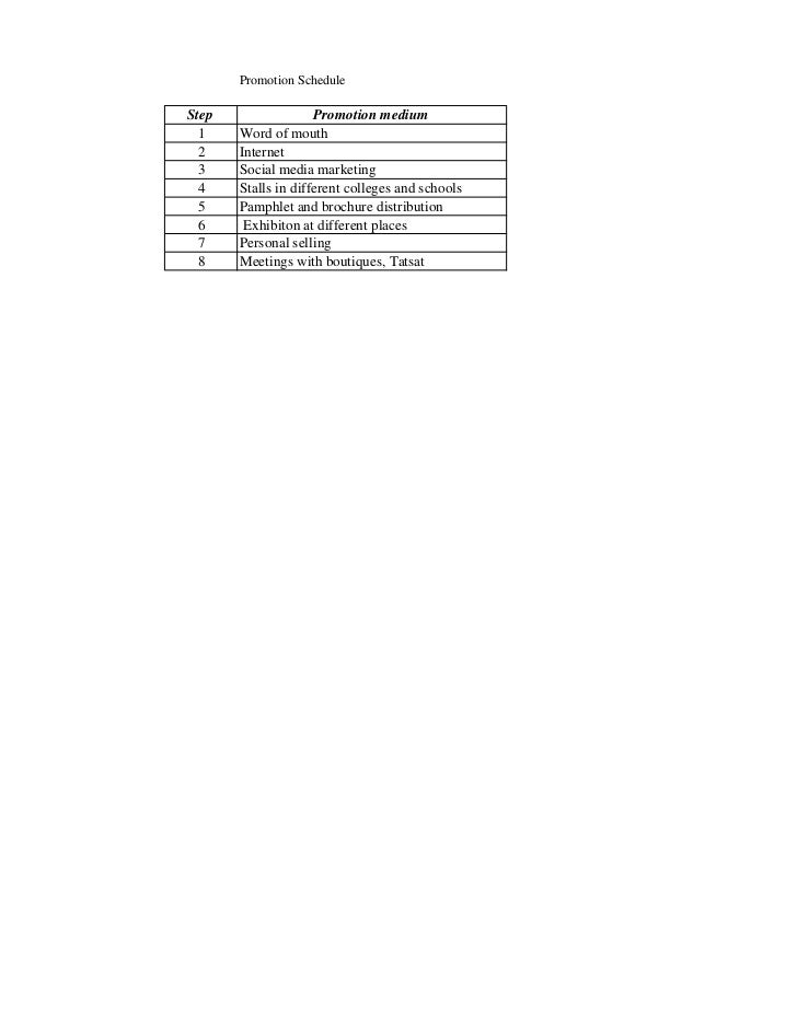 Promotion schedule