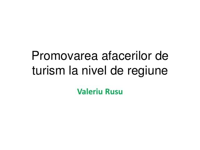 Promovarea afacerilor deturism la nivel de regiune        Valeriu Rusu