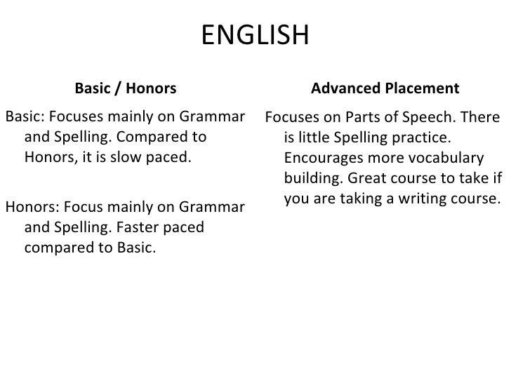 ENGLISH <ul><li>Basic / Honors </li></ul><ul><li>Basic: Focuses mainly on Grammar and Spelling. Compared to Honors, it is ...
