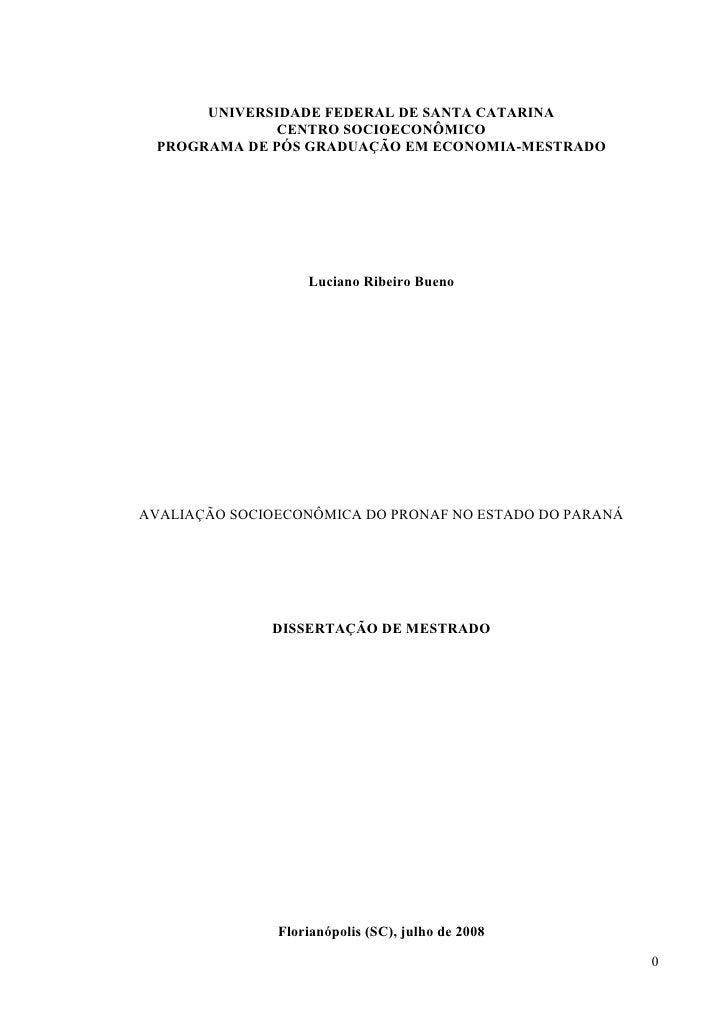 Avaliação socioeconômica do Pronaf no estado do Paraná