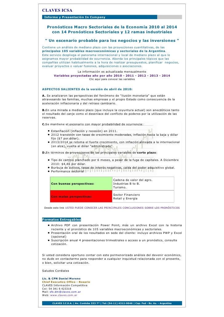 CLAVES ICSA _Informe y Presentación In Company      Pronósticos Macro Sectoriales de la Economía 2010 al 2014      con 14 ...