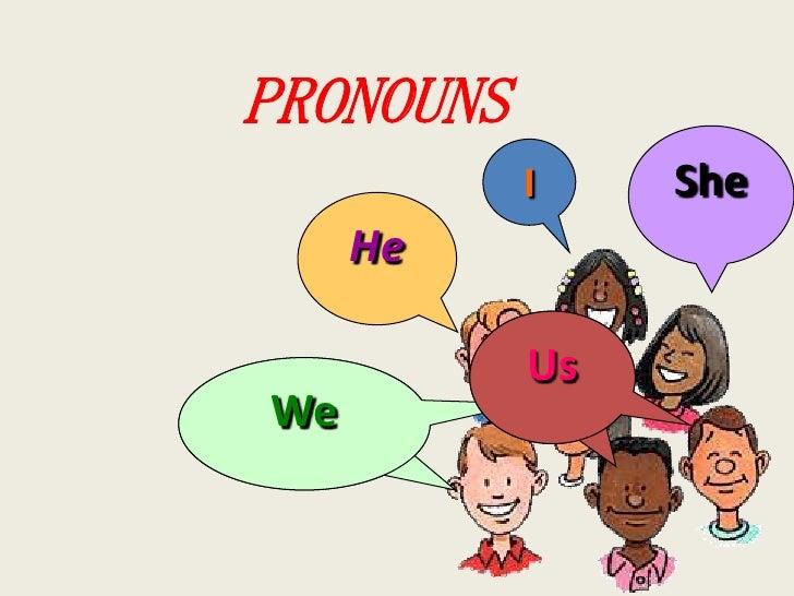 PRONOUNS           I    She     He           UsWe