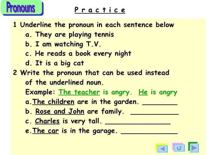 Pronouns Examples Sentences Pronouns Examples Sentences