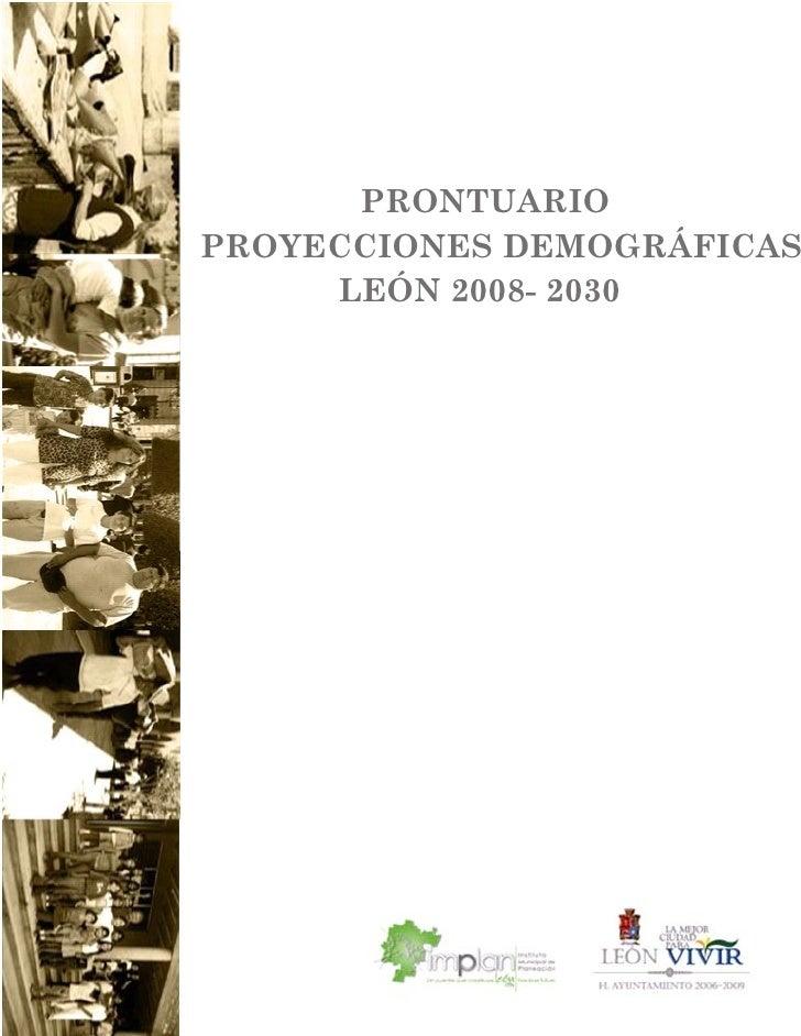Prontuario de proyecciones de población 2008-2030