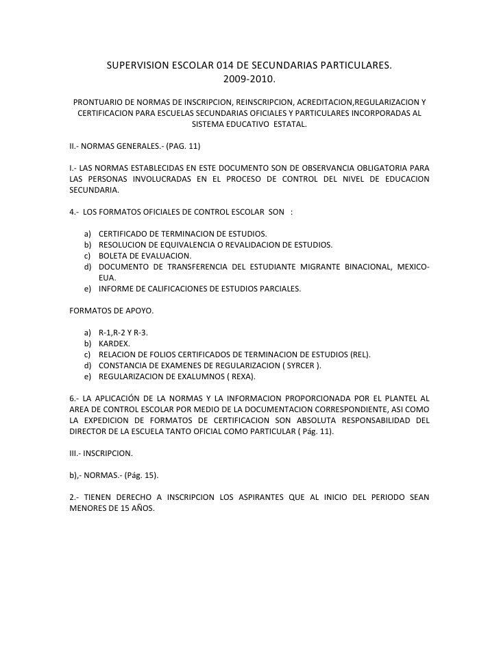 SUPERVISION ESCOLAR 014 DE SECUNDARIAS PARTICULARES.                                2009-2010.  PRONTUARIO DE NORMAS DE IN...
