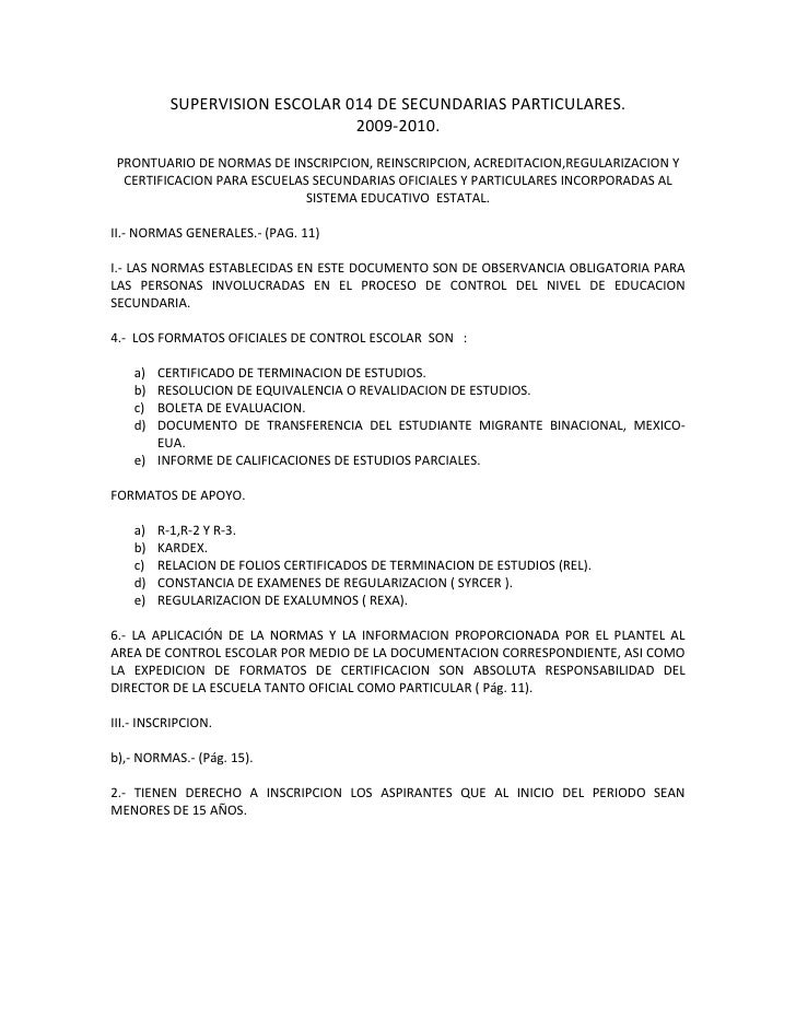 Prontuario de normas de inscripcion