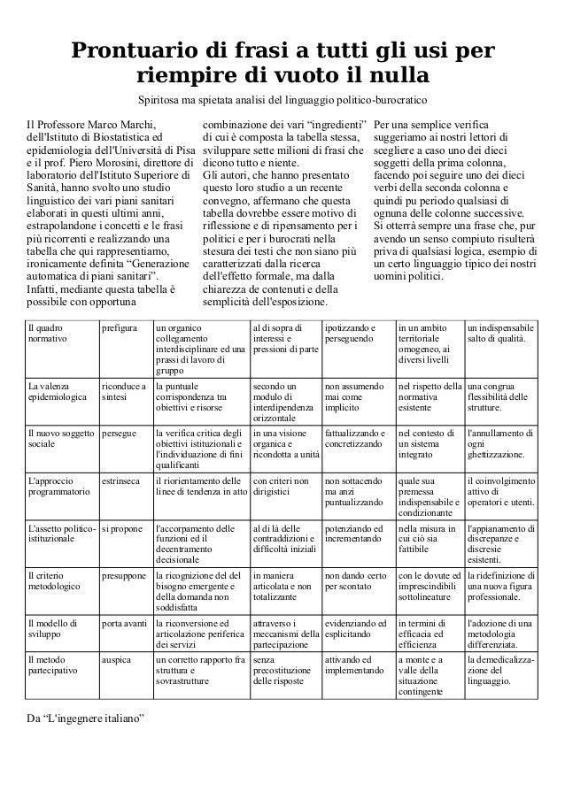 Prontuario di frasi a tutti gli usi per riempire di vuoto il nulla Spiritosa ma spietata analisi del linguaggio politico-b...