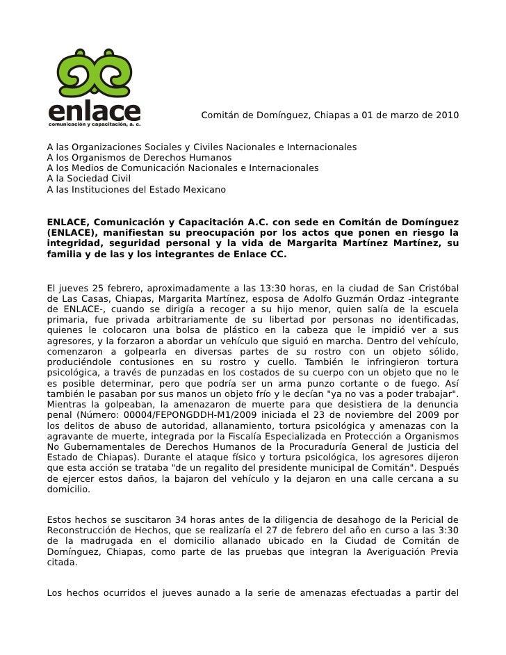 Comitán de Domínguez, Chiapas a 01 de marzo de 2010   A   las Organizaciones Sociales y Civiles Nacionales e Internacional...