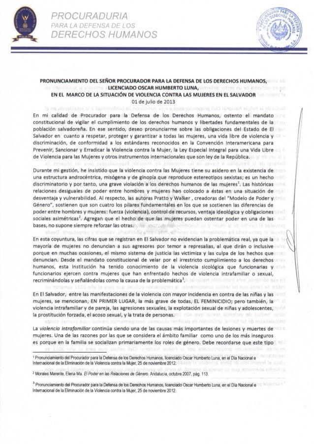 PROCURADURÍA PARA LA DEFENSA DE LOS DERECHOS HUMANOS PRONUNCIAMIENTO DEL SEÑOR PROCURADOR PARA LA DEFENSA DE LOS DERECHOS ...