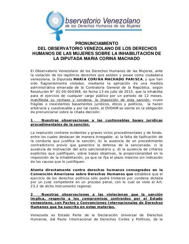 PRONUNCIAMIENTO DEL OBSERVATORIO VENEZOLANO DE LOS DERECHOS HUMANOS DE LAS MUJERES SOBRE LA INHAB...