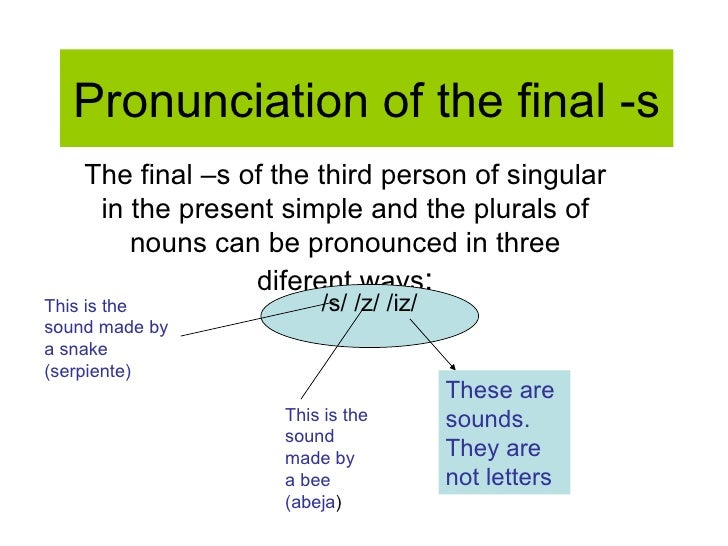 Pronunciation of the final -s The final –s of the third person of singular in the present simple and the plurals of nouns ...