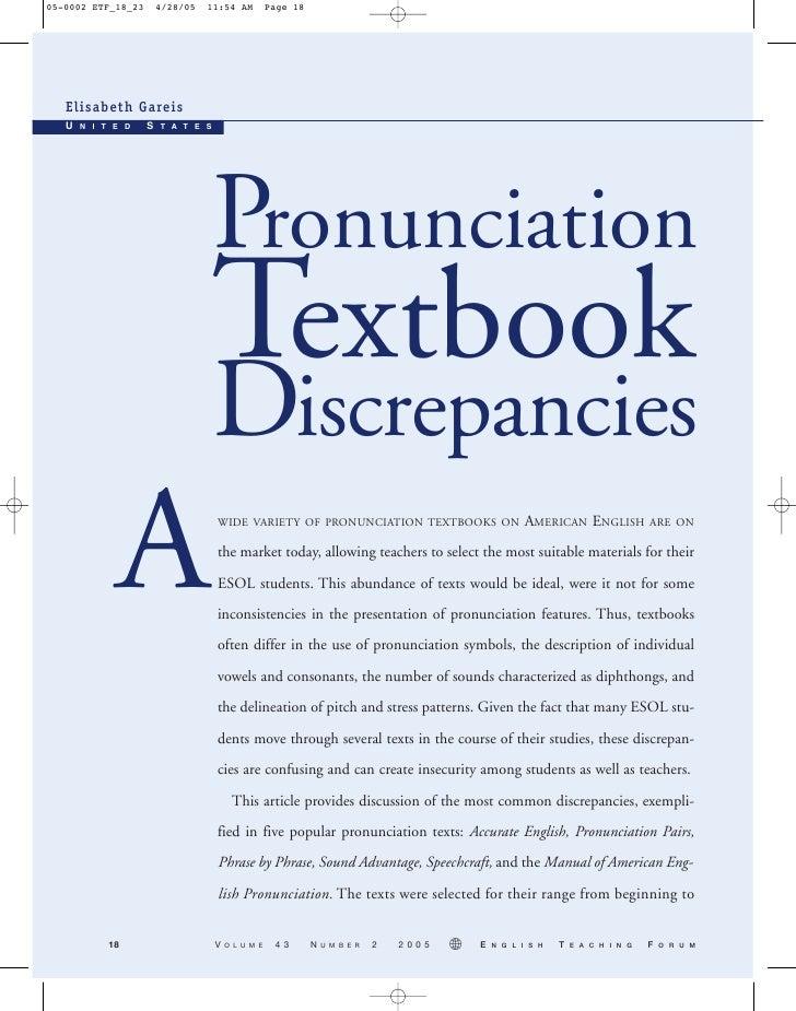 Pronunciation Textbook Discrepancies