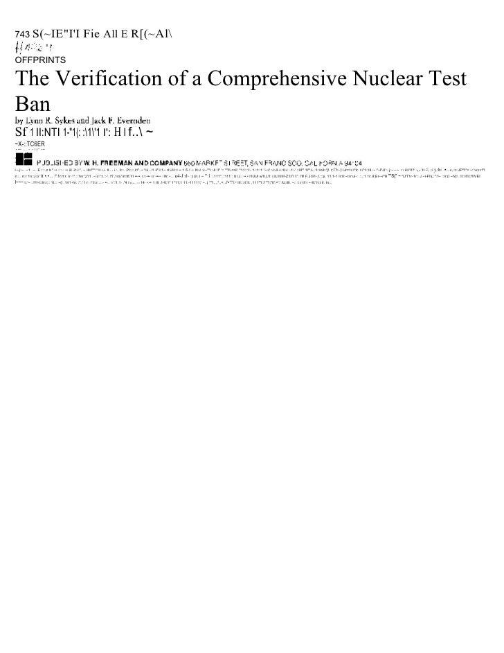 "743 S(~IE""II                                          Fie All E R[(~AlOFFPRINTSThe Verification of a Comprehensive Nuclear..."