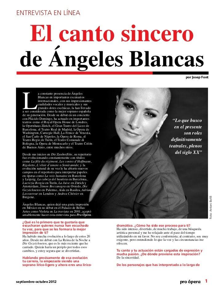ENTREVISTA EN LÍNEA        El canto sincero  de Ángeles Blancas                                                           ...