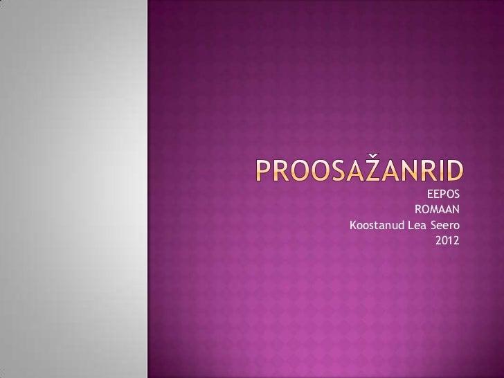 EEPOS           ROMAANKoostanud Lea Seero               2012